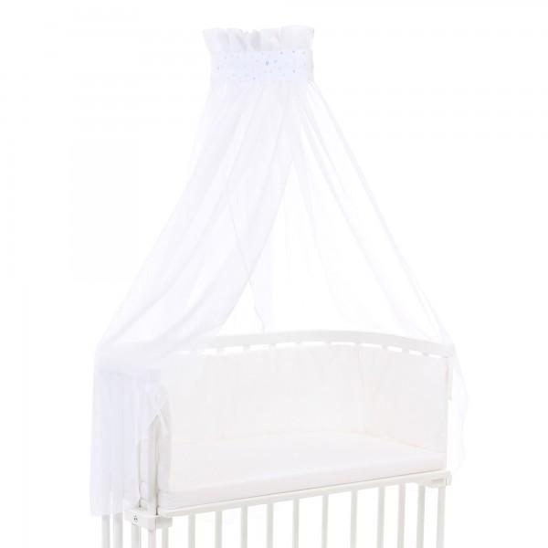 babybay Himmel Piqué mit Band passend für alle Modelle, weiß Sternemix sand/azurblau