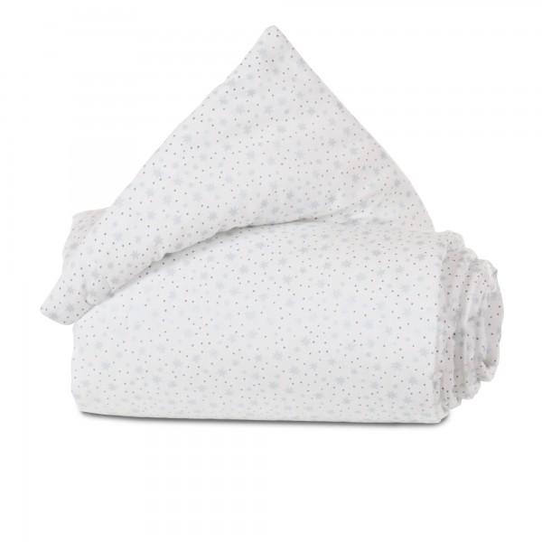 babybay Gitterschutz Organic Cotton für Verschlussgitter alle Modelle, weiß Glitzersterne diamantblau