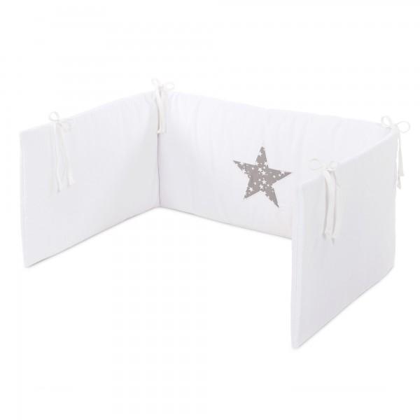 babybay Kinderbettnestchen Piqué, weiß Applikation Stern taupe Sterne weiß