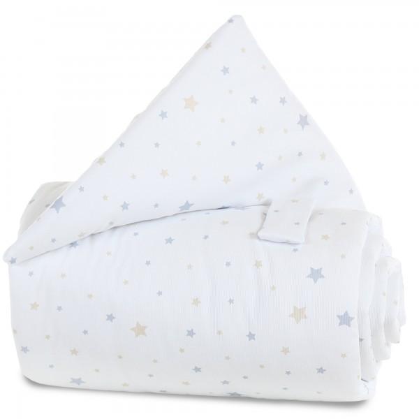 babybay Gitterschutz Piqué für Verschlussgitter alle Modelle, weiß Sternemix sand/azurblau