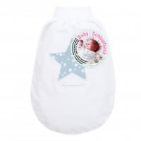 babybay Schlupfsack Organic Cotton mit Gurtschlitz, weiß Applikation Stern azurblau Sterne weiß