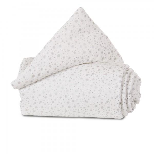 babybay Nestchen Organic Cotton passend für Modell Maxi, Boxspring, Comfort und Comfort Plus, weiß Glitzersterne silber