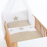 babybay Kinderbettnestchen Piqué, weiß Applikation Stern sand