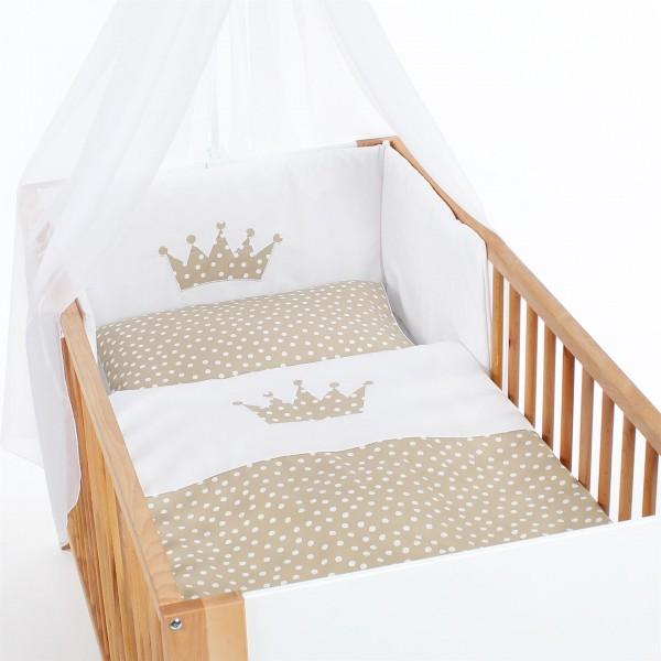 babybay Kinderbettnestchen Piqué, weiß Applikation Krone sand