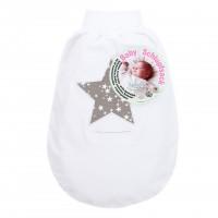 babybay Schlupfsack Organic Cotton mit Gurtschlitz, weiß Applikation Stern taupe Sterne weiß