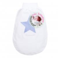 babybay Schlupfsack Organic Cotton mit Gurtschlitz, weiß Applikation Stern blau