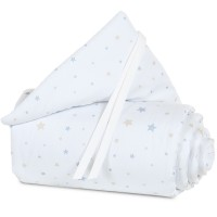 babybay Nestchen Piqué passend für Modell Maxi, Boxspring, Comfort und Comfort Plus, weiß Sternemix sand/azurblau