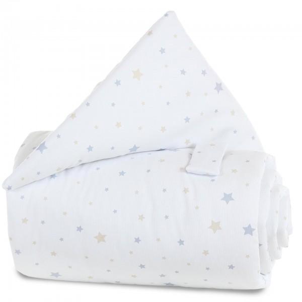 babybay Gitterschutz Piqué für Verschlussgitter alle Modelle, Sternemix sand/azurblau