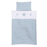 babybay Kinderbettwäsche Piqué, azurblau Sterne weiß mit Applikation Stern