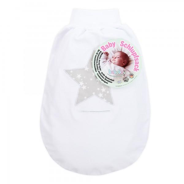 babybay Schlupfsack Organic Cotton mit Gurtschlitz, weiß Applikation Stern perlgrau Sterne weiß