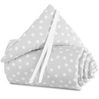 babybay Nestchen Piqué passend für Modell Maxi, Boxspring, Comfort und Comfort Plus, perlgrau Punkte weiß