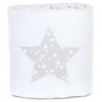 babybay Nestchen Piqué passend für Modell Maxi, Boxspring und Comfort, weiß Applikation Stern perlgr