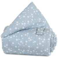 babybay Gitterschutz Piqué für Verschlussgitter alle Modelle, azurblau Sterne weiß