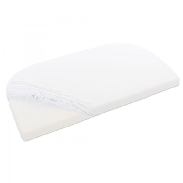 babybay Jersey Spannbetttuch Deluxe Organic Cotton passend für Modell Maxi, Midi, Boxspring und Comfort, weiß