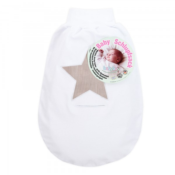 babybay Schlupfsack Organic Cotton mit Gurtschlitz, weiß Applikation Stern braun