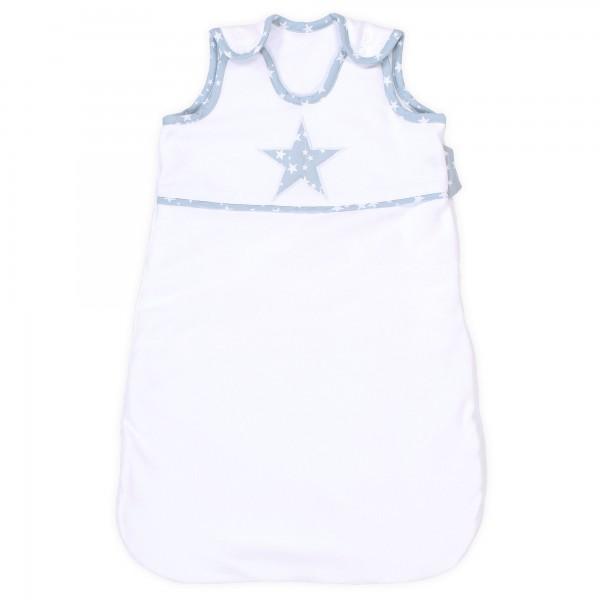 babybay Schlafsack Organic Cotton, weiß Applikation Stern azurblau Sterne weiß
