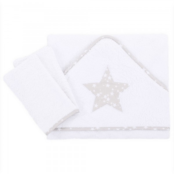 babybay Kapuzenhandtuch 100x100 cm inkl. zwei Waschlappen, weiß Applikation Stern perlgrau