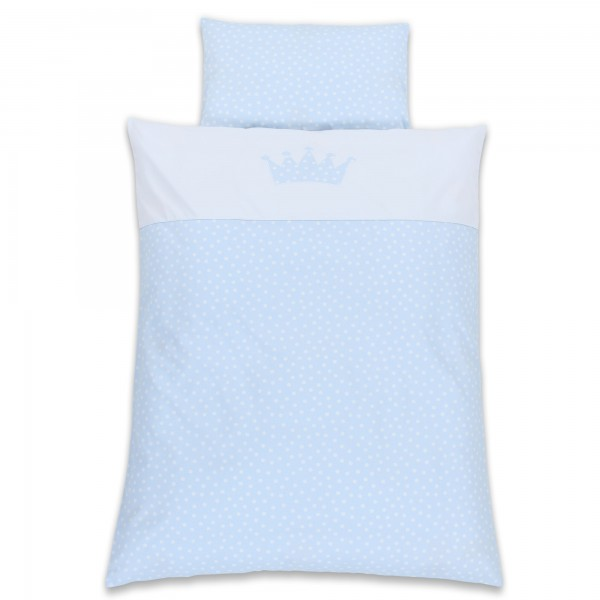 babybay Kinderbettwäsche Piqué, hellblau Punkte weiß Applikation Krone