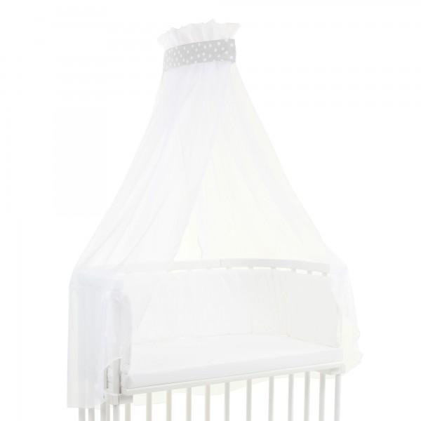 babybay Himmel Piqué mit Band passend für alle Modelle, perlgrau Punkte weiß