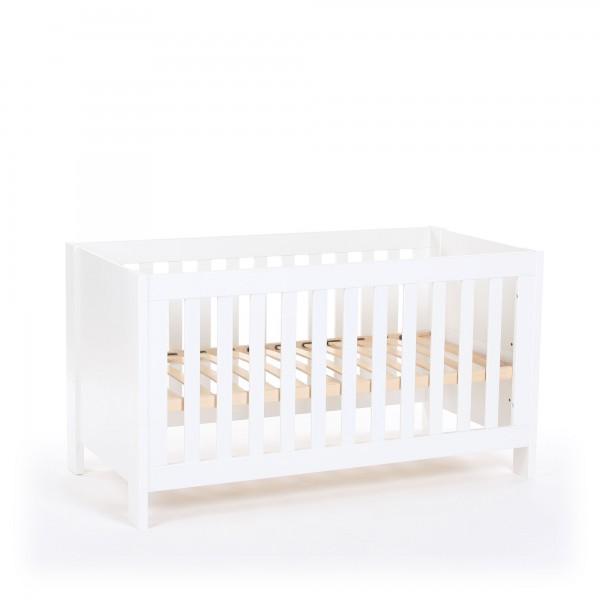 Baby-, Kinder und Beistellbett All in One 70x140, weiß lackiert