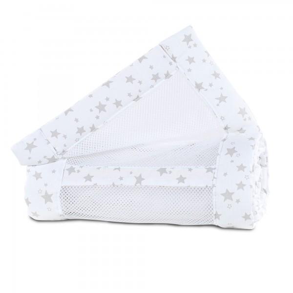 babybay Nestchen Mesh-Piqué passend für Modell Maxi, Boxspring, Comfort und Comfort Plus, weiß Sterne perlgrau