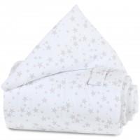 babybay Gitterschutz Piqué für Verschlussgitter alle Modelle, weiß Sterne perlgrau
