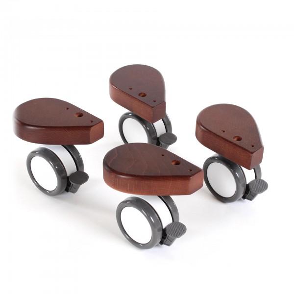 babybay Rollensatz Spezial mit Stoßschutz passend für alle Modelle, dunkelbraun lackiert