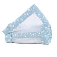 babybay Nestchen Mesh-Piqué passend für Modell Maxi, Boxspring, Comfort und Comfort Plus, azurblau Sterne weiß