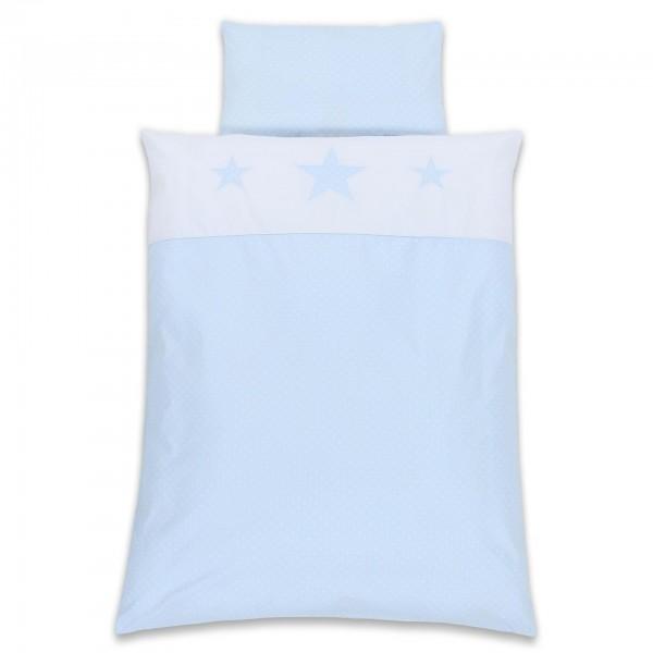 babybay Kinderbettwäsche Piqué, hellblau Sterne weiß Applikation Stern