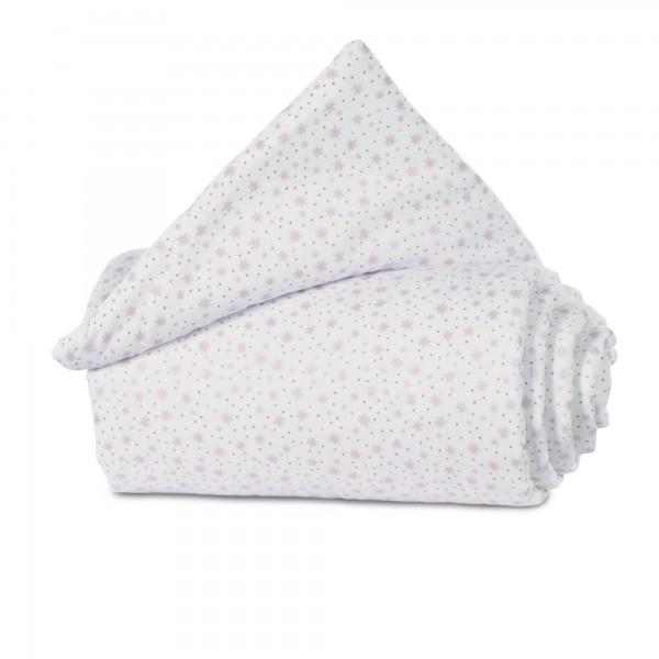 babybay Gitterschutz Organic Cotton für Verschlussgitter alle Modelle, weiß Glitzersterne rosé