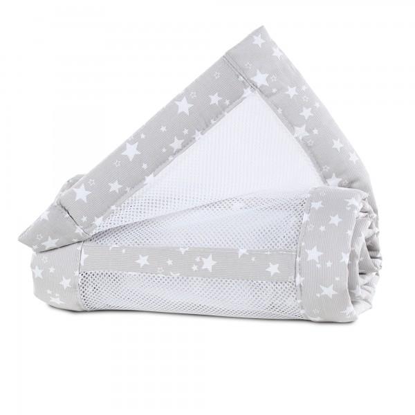 babybay Nestchen Mesh-Piqué passend für Modell Maxi, Boxspring, Comfort und Comfort Plus, perlgrau Sterne weiß