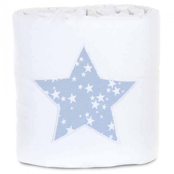 babybay Nestchen Piqué passend für Modell Original, weiß Applikation Stern azurblau Sterne weiß