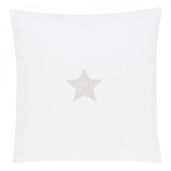 babybay Bezug Babydecke 80x80 cm, weiß Applikation Stern perlgrau