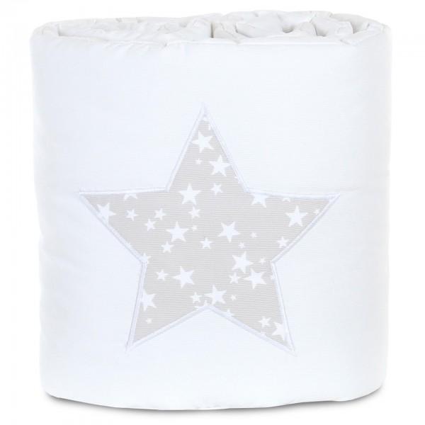babybay Nestchen Piqué passend für Modell Boxspring XXL, weiß Applikation Stern perlgrau Sterne weiß