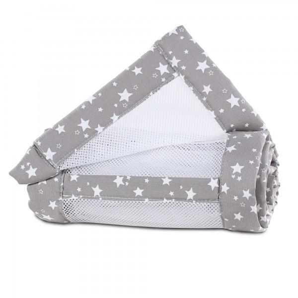 babybay Nestchen Mesh-Piqué passend für Modell Maxi, Boxspring, Comfort und Comfort Plus, taupe Sterne weiß