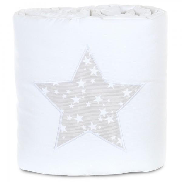 babybay Nestchen Piqué passend für Modell Maxi, Boxspring, Comfort und Comfort Plus, weiß Applikation Stern perlgrau Sterne weiß