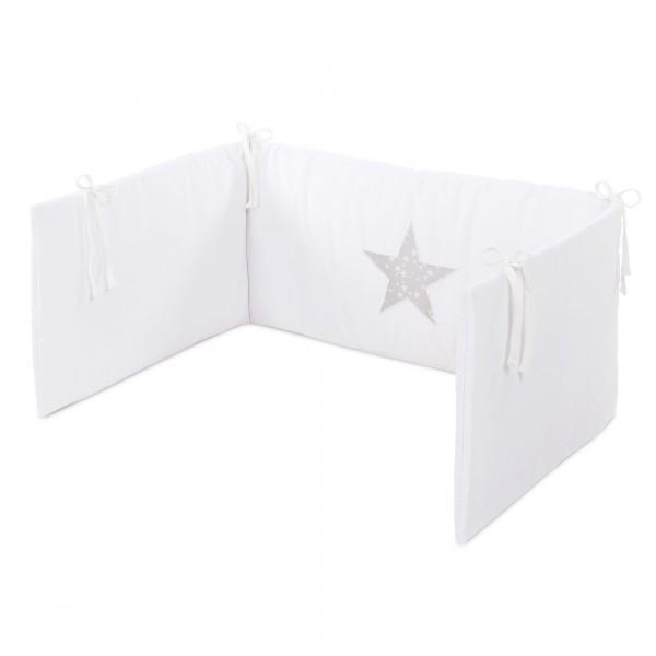 babybay Kinderbettnestchen Piqué, weiß Applikation Stern perlgrau Sterne weiß